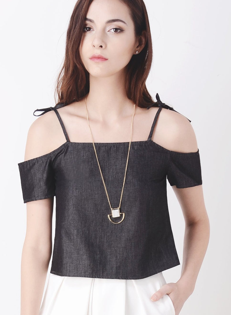 ADORN Tie Shoulder Top (Dark Wash) - And Well Dressed