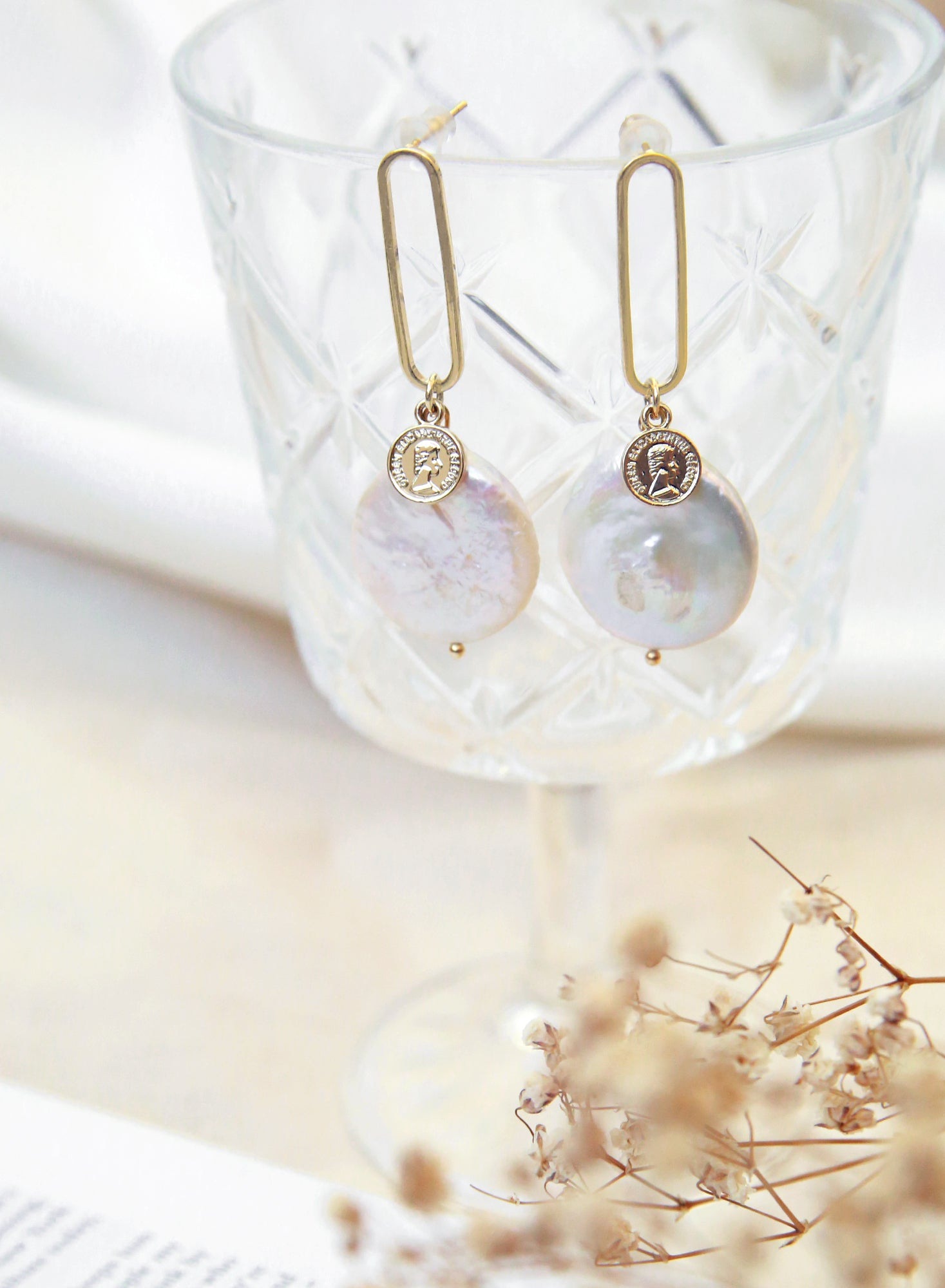 Medallion Coin Pearl Stone Gold Earrings