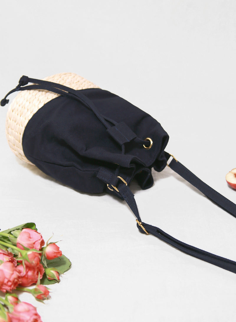 Luce Canvas Bucket Bag (Navy) at $ 29.90 only sold at And Well Dressed Online Fashion Store Singapore