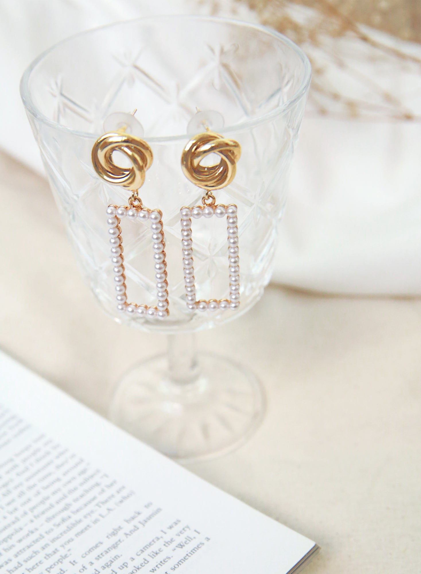 Gold Knotted Pearl Framed Earrings