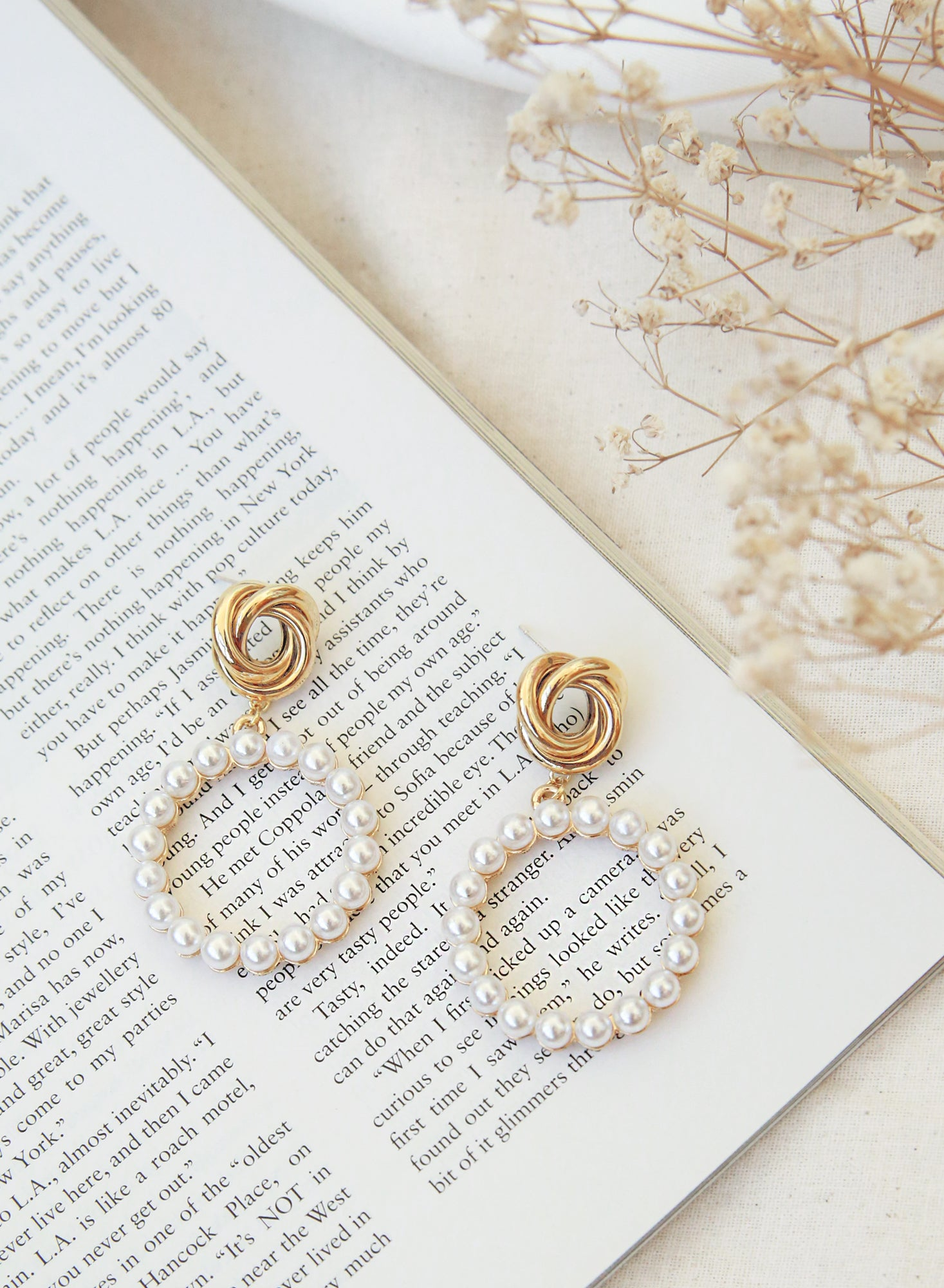 Gold Knotted Pearl Hoop Earrings