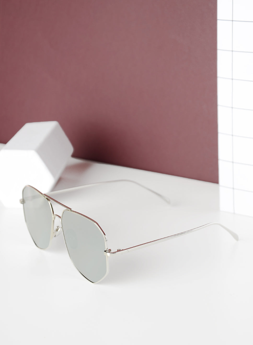 LEILA Wide Mirrored Sunnies (Silver) at $ 25.90 only sold at And Well Dressed Online Fashion Store Singapore