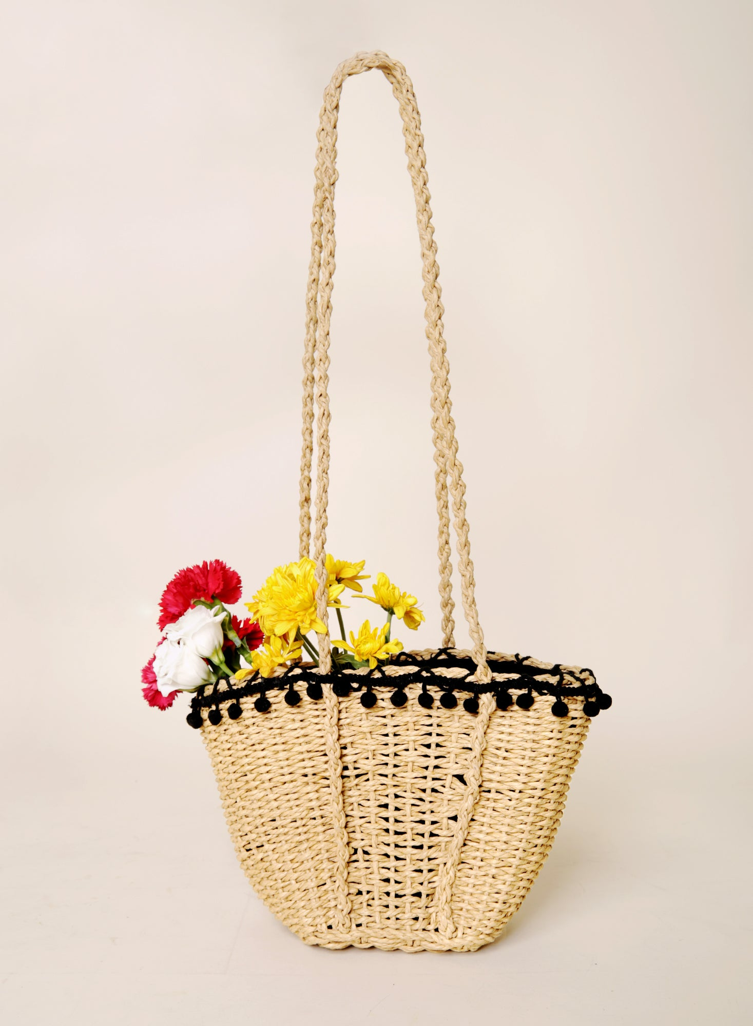 Vander Black Pom Pom Weave Tote at $29.50 only sold at And Well Dressed Online Fashion Store Singapore