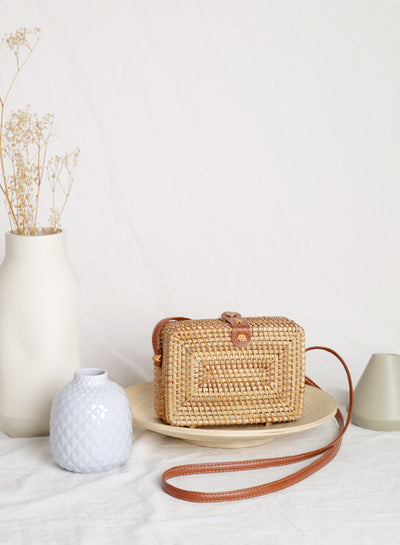 Rainer Wicker Box Bag at $ 39.90 only sold at And Well Dressed Online Fashion Store Singapore