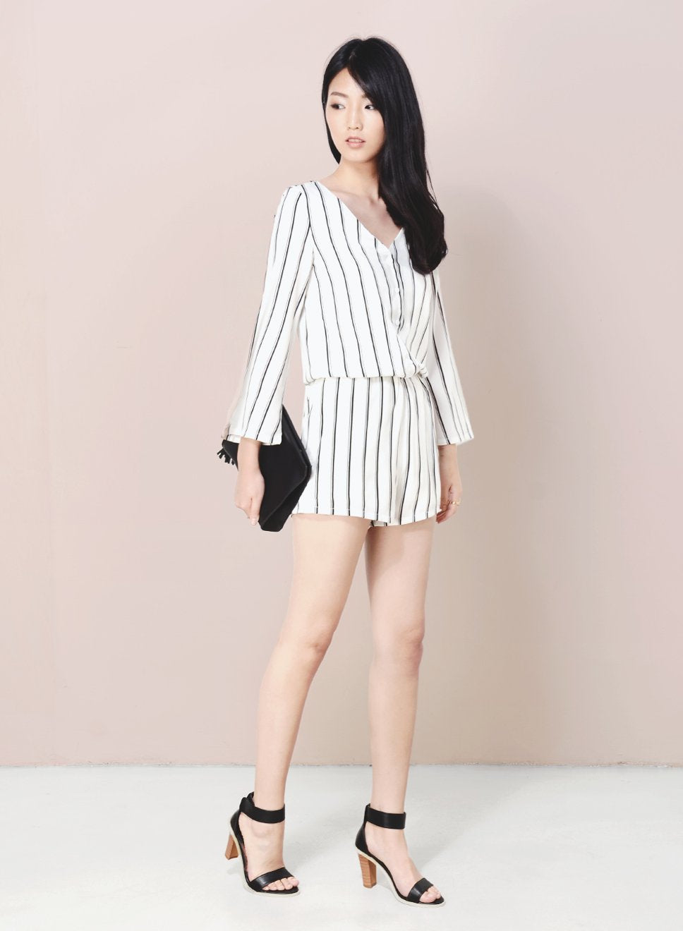 BORDERLINE Flare Sleeves Stripe Romper (White) - And Well Dressed