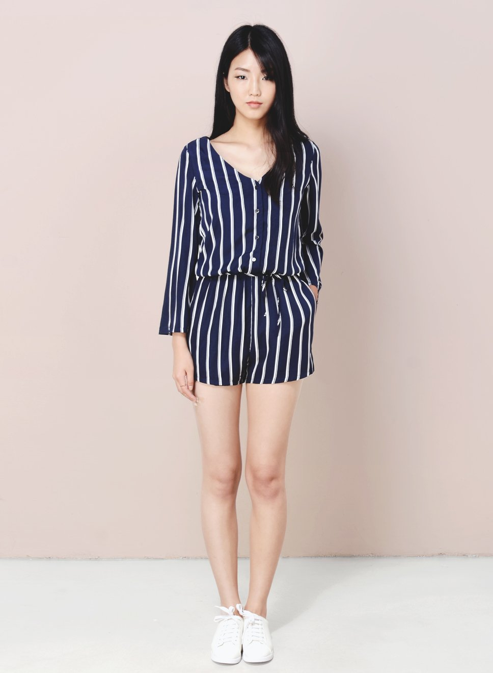 BORDERLINE Flare Sleeves Stripe Romper (Navy) - And Well Dressed