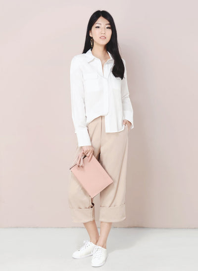 DIVERGE Split Back Buttoned Shirt (White) at $ 19.50 only sold at And Well Dressed Online Fashion Store Singapore