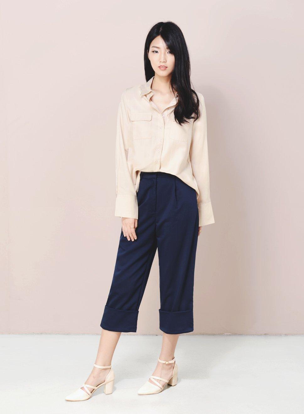 DIVERGE Split Back Buttoned Shirt (Champagne) at $ 19.50 only sold at And Well Dressed Online Fashion Store Singapore