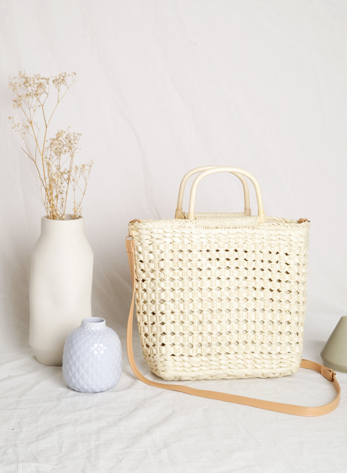 Mara Woven Square Tote (Light)