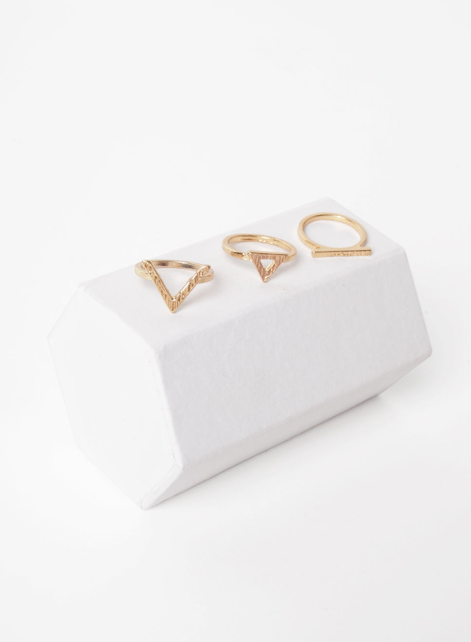 DELIA 3 GOLD RINGS SET at $ 10.00 only sold at And Well Dressed Online Fashion Store Singapore