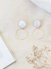 Mother of Pearl Gold Drop Earrings at $ 25.00 only sold at And Well Dressed Online Fashion Store Singapore