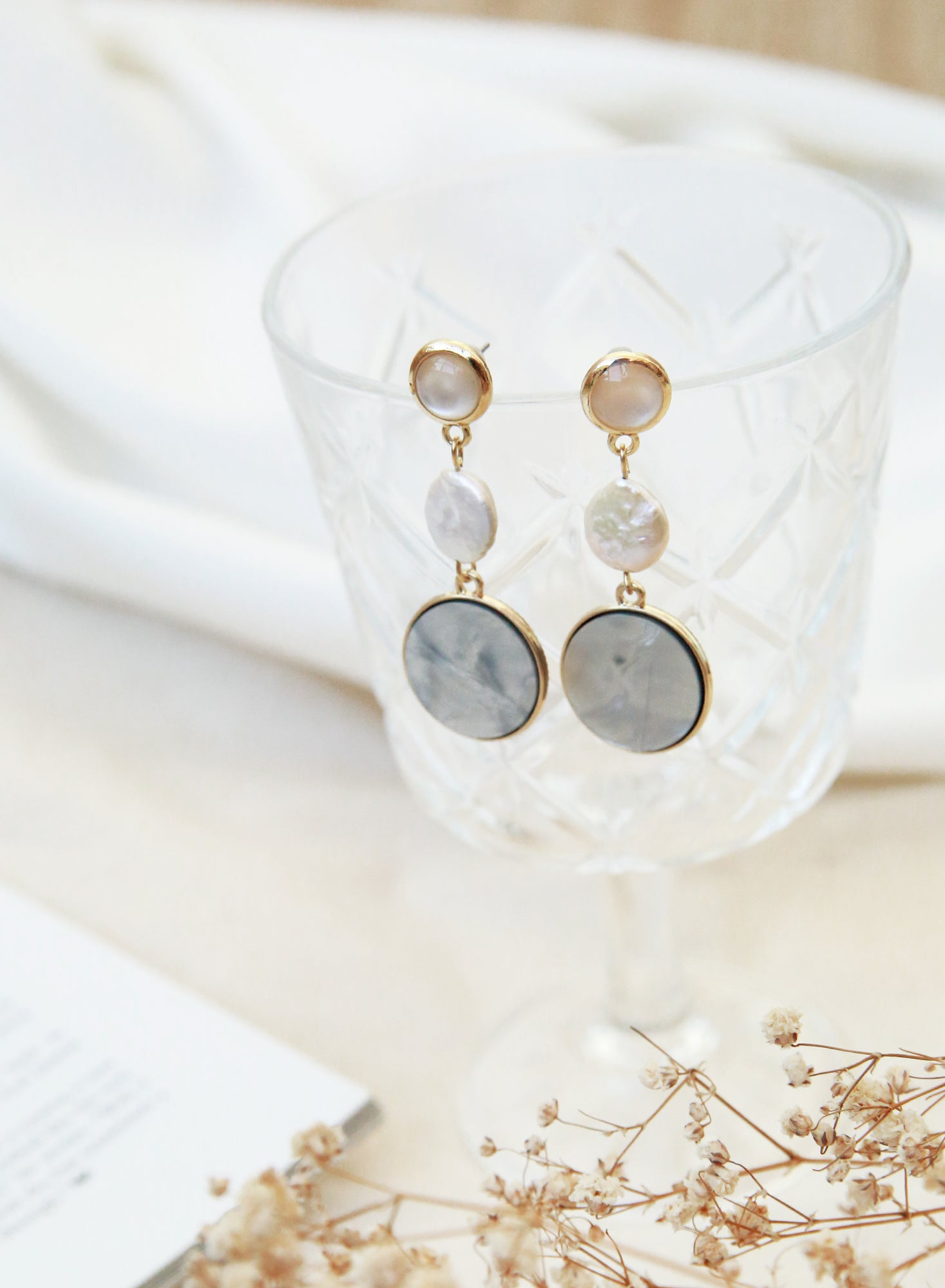 Mother of Pearl Gold Drop Earrings (Grey) at $ 28.00 only sold at And Well Dressed Online Fashion Store Singapore