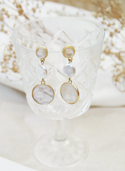 Mother of Pearl Gold Drop Earrings (Ivory) at $ 28.00 only sold at And Well Dressed Online Fashion Store Singapore