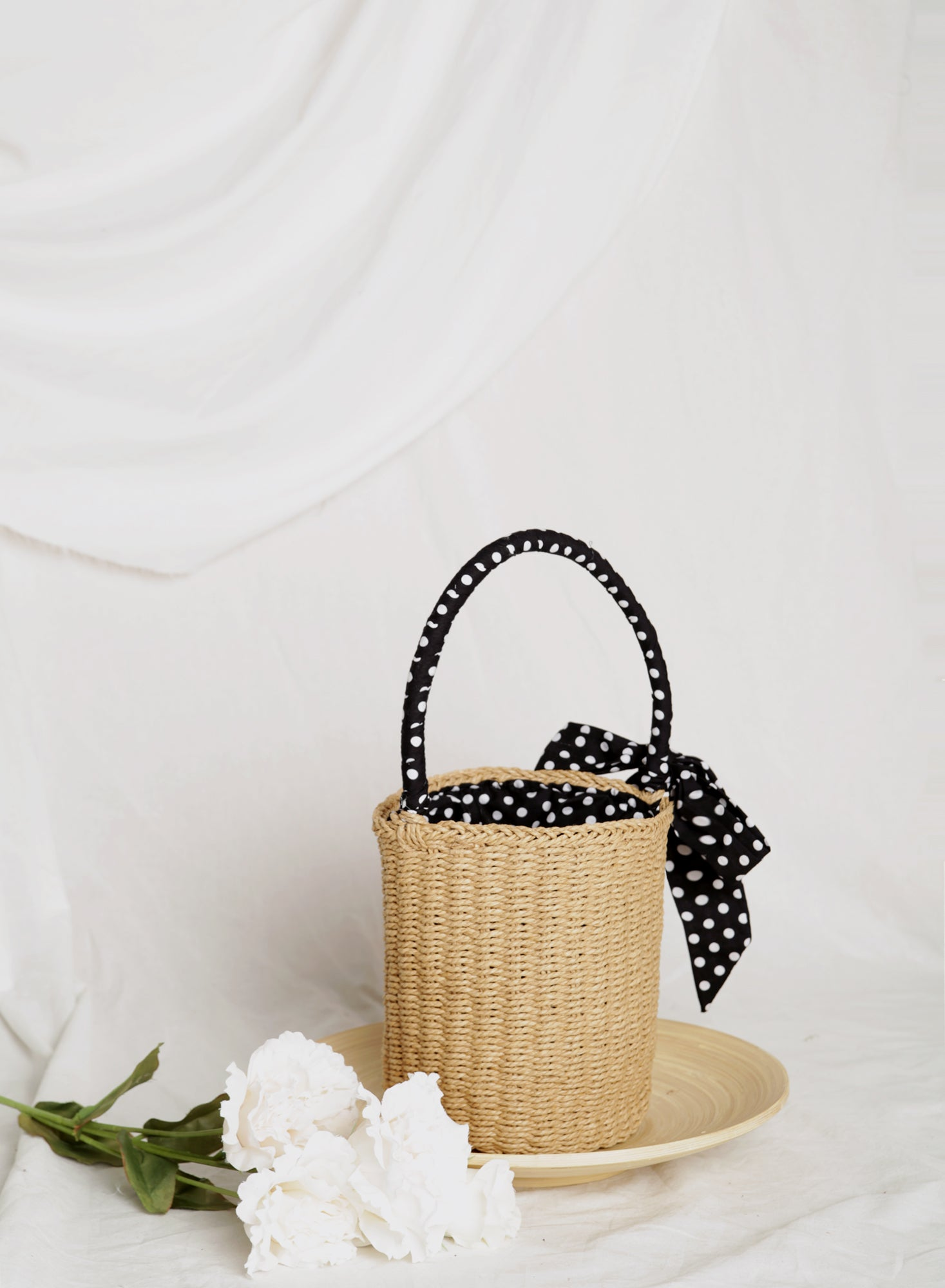 Sofie Polka Dot Ribbon Straw Tote (Natural)