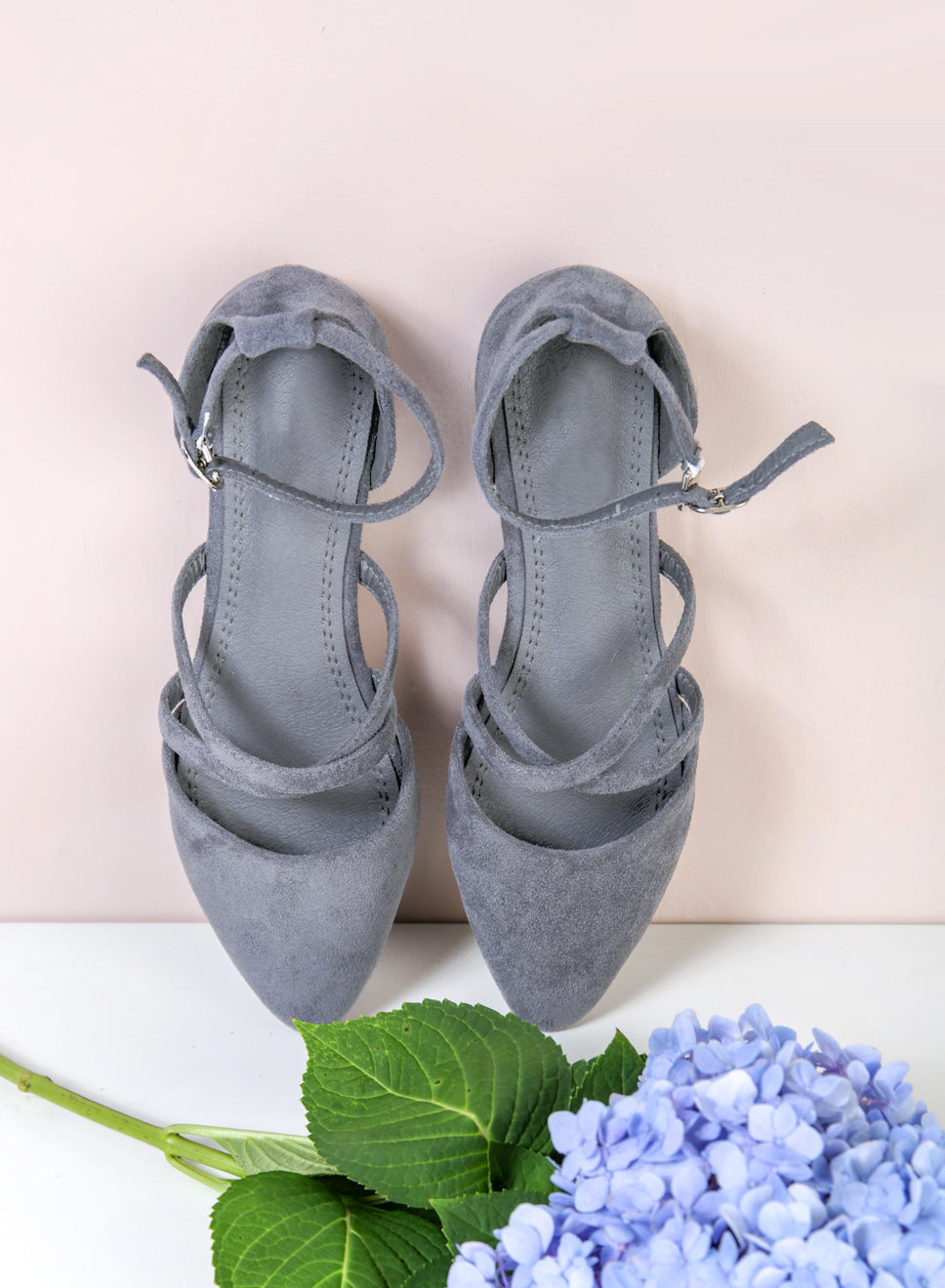 ALEA Pointed Cross Front Flats (Grey) at $34.90 only sold at And Well Dressed Online Fashion Store Singapore
