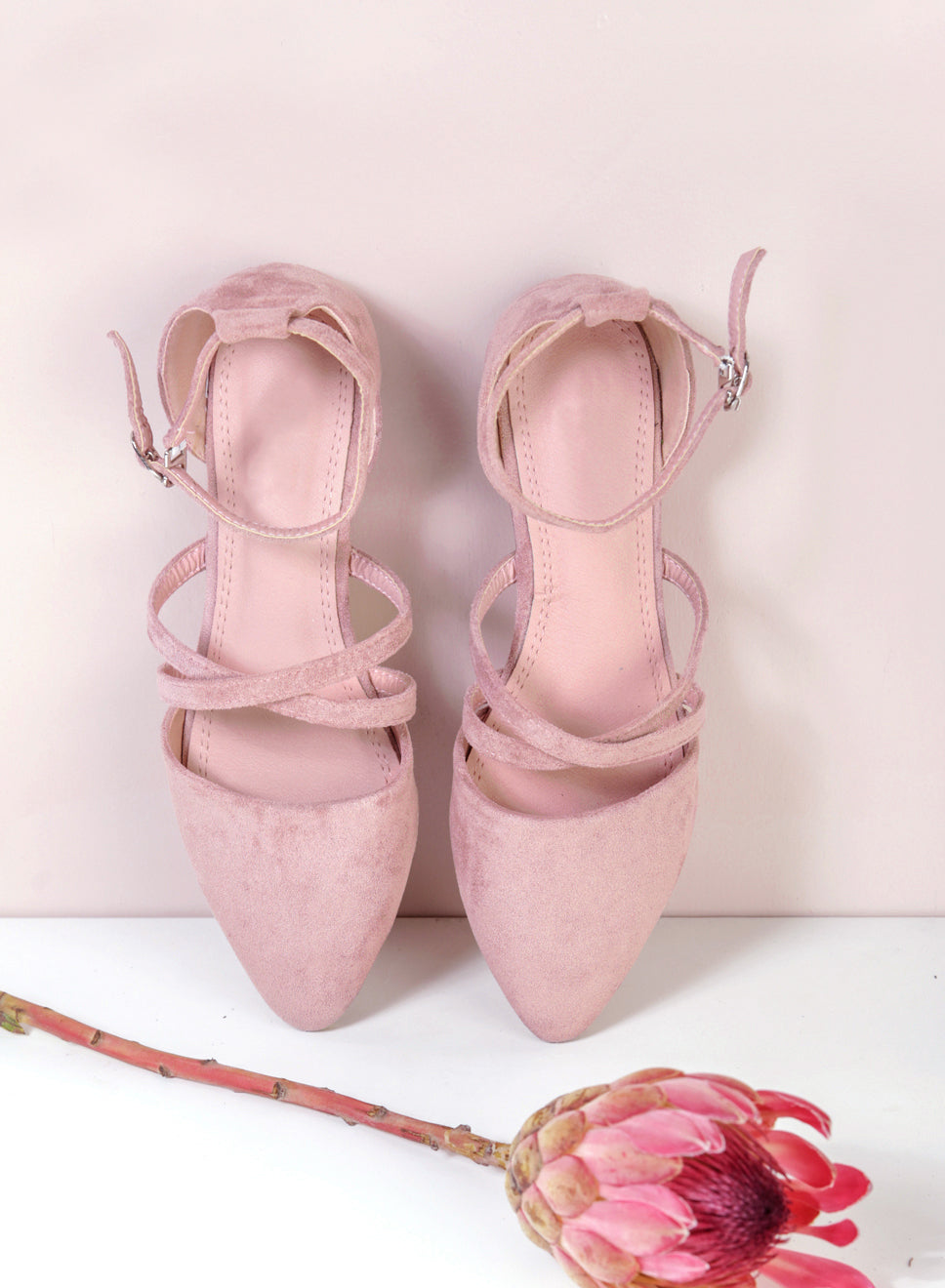 ALEA Pointed Cross Front Flats (Mauve) - And Well Dressed