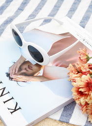 Vela Round Eyes White Sunnies at $ 28.50 only sold at And Well Dressed Online Fashion Store Singapore