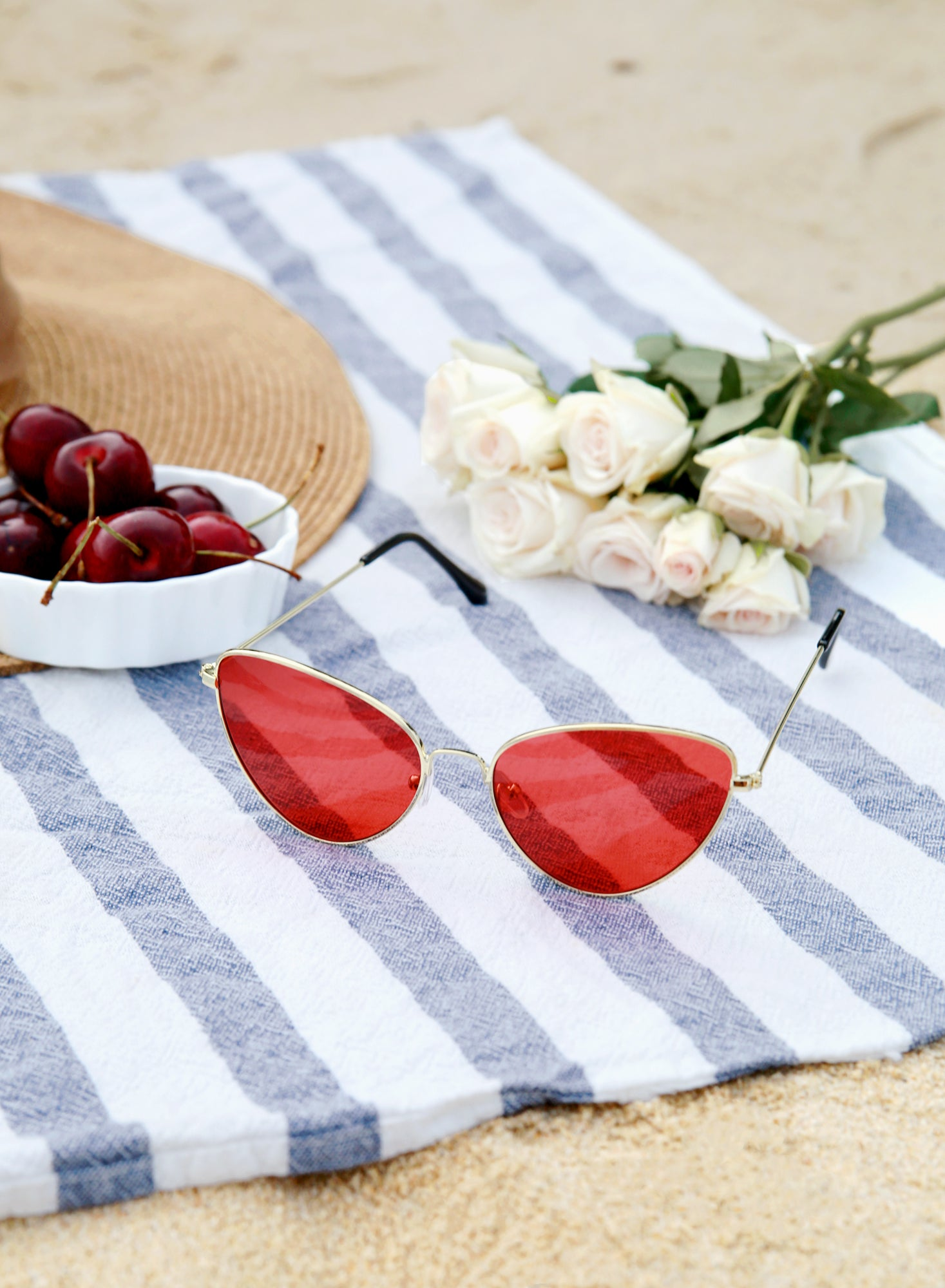 Halen Cat Eyes Red Tint Sunnies - And Well Dressed