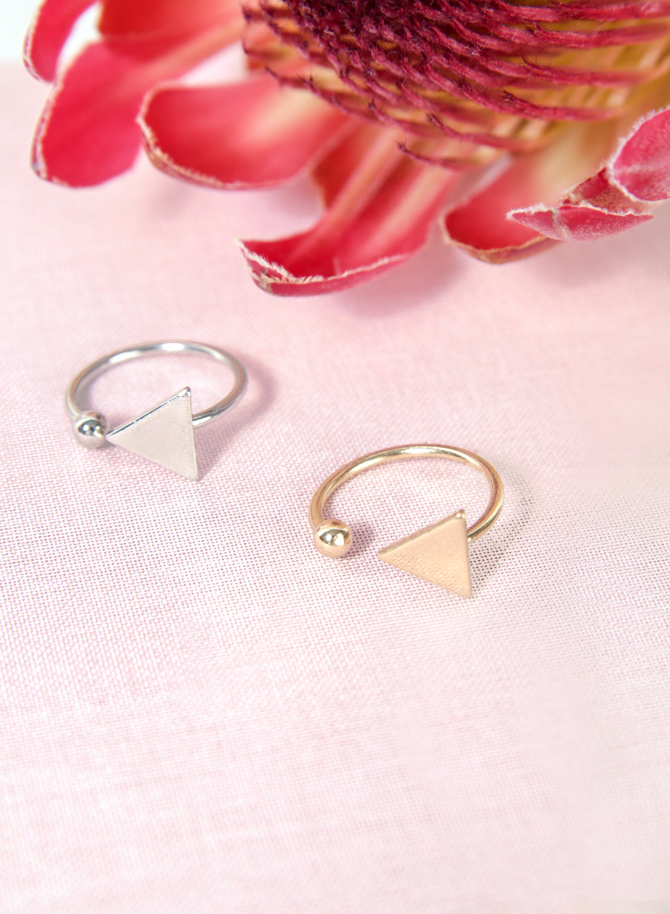MICA Triangle Sphere Ring at $ 14.00 only sold at And Well Dressed Online Fashion Store Singapore