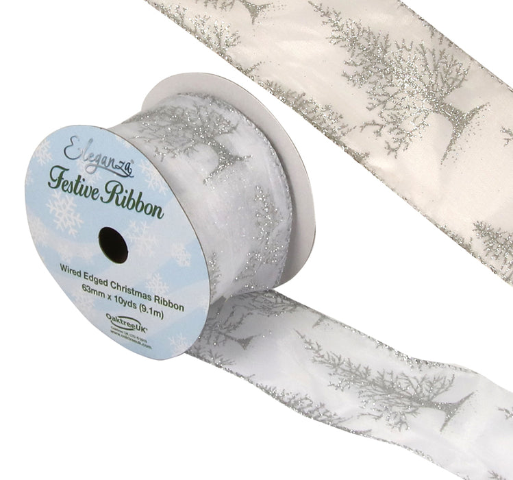 Organza Wire Edged Glitter Christmas Tree Ribbon -10yds x 63mm - Silver