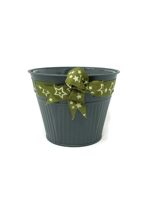 Lugano Range Green Pot With Gold Star Ribbon - 12cm