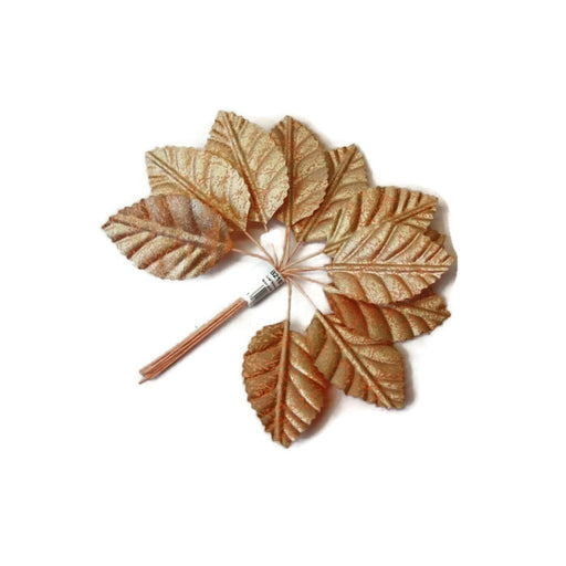 Matt Rose Gold Leaves x 12