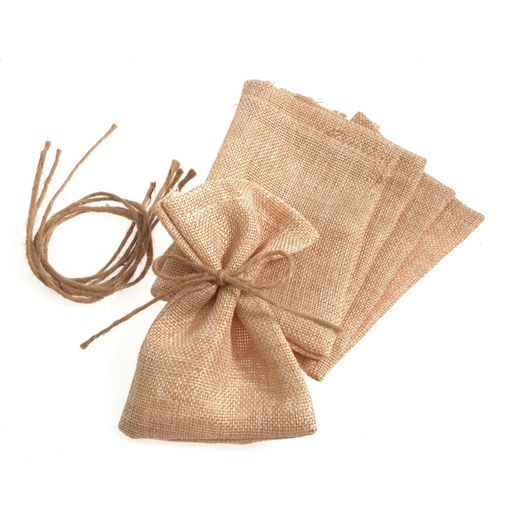 14 cm x 10cm Natural Hessian Jute Rope Tie Bags - Natural