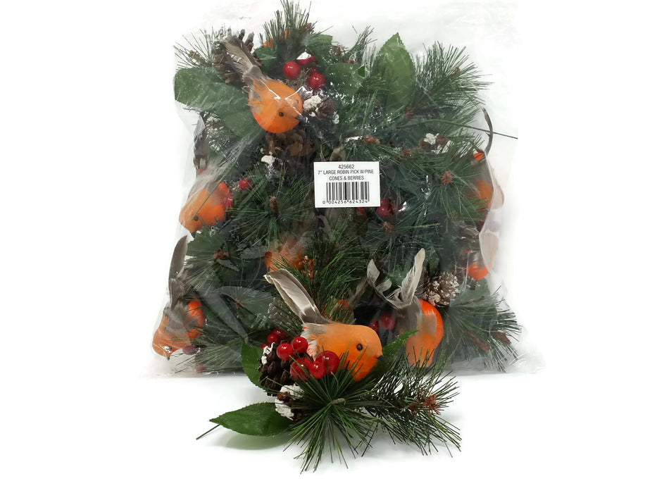 Large Robin Glitter Pick with Snowy Pine Cones & Berries x 18cm - Pack of 12