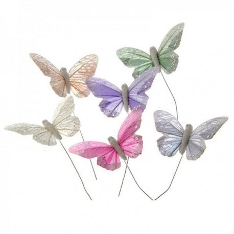 10cm Pastel Assorted Colour Glittered Wired Butterflies , 12 Per box