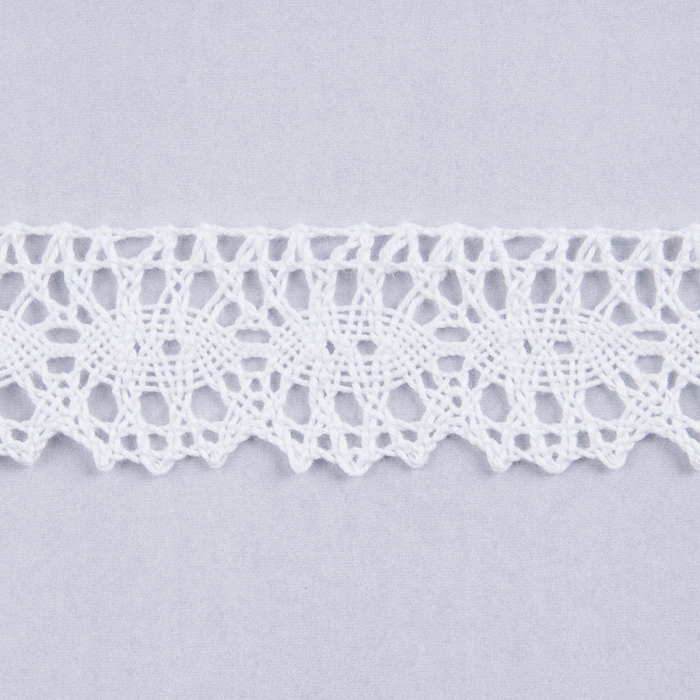 White 100% Cotton Lace x 25mm - per Metre