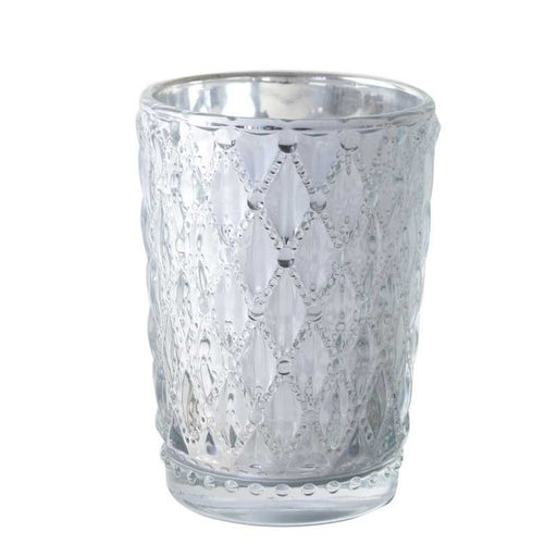 Silver Diamond Patterned Glass Votive