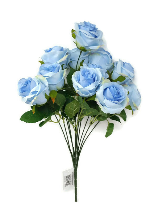 10 Head Rose Bush x 44cm - Light Blue