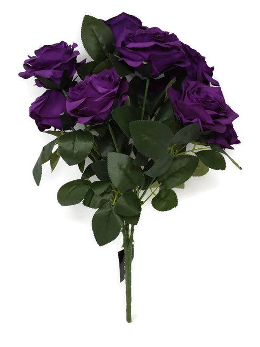 10 Head Open Rose Bush - Purple