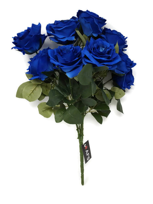 10 Head Open Rose Bush - Royal Blue