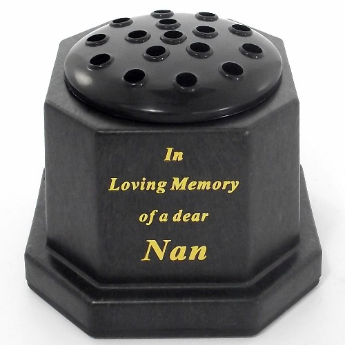 Black In Loving Memory Nan Memorial Pot