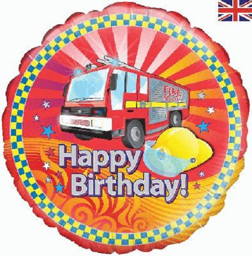 "18"" Foil Balloon - Happy Birthday Fire Engine"
