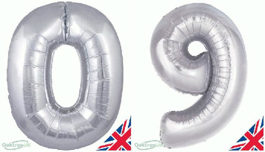 "30"" Silver Foil Number Balloon  -  0 -  9"