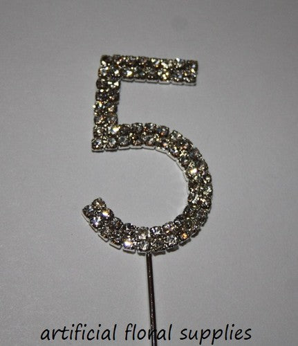 "Single Number Diamante Cake Topper ""5"""
