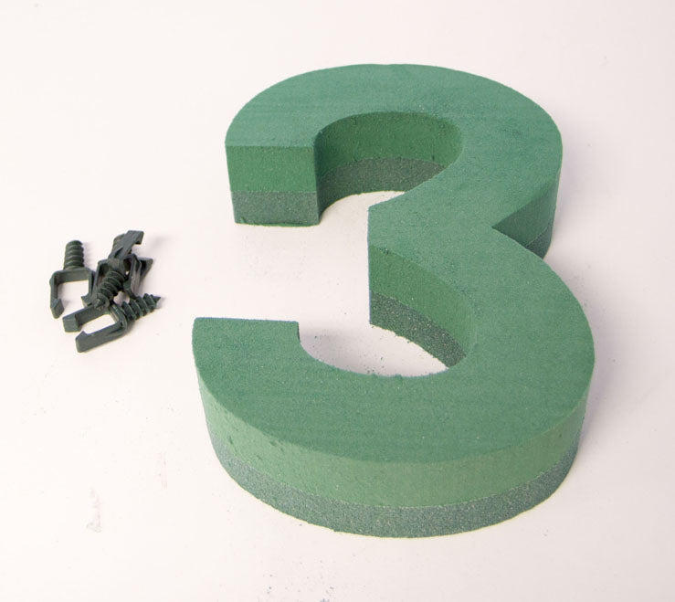 "Oasis Floral Foam Number with Clips ""3"""