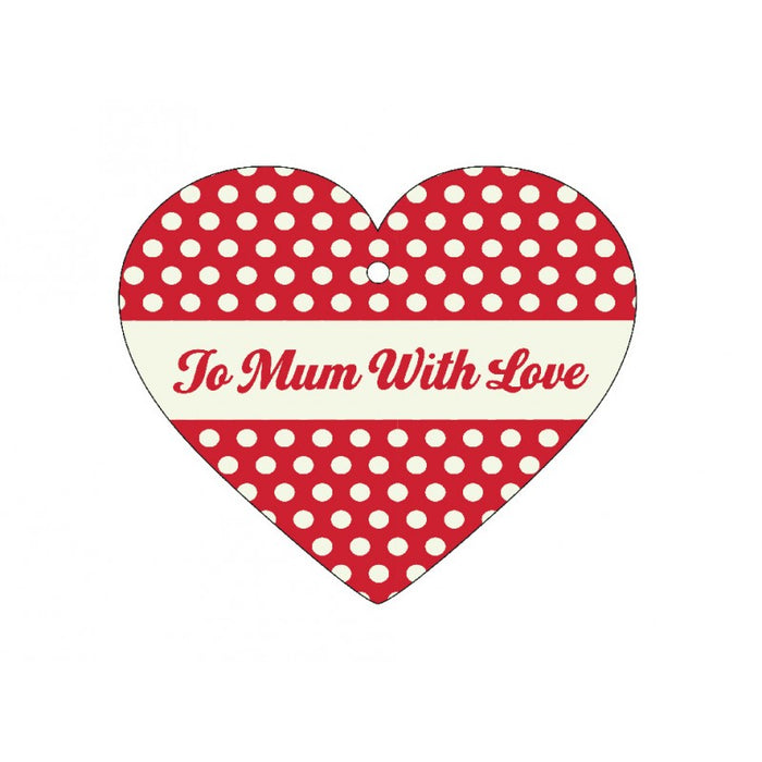 12 Heart Shaped Red & Cream Polka Dot Gift Message Cards To Mum With Love