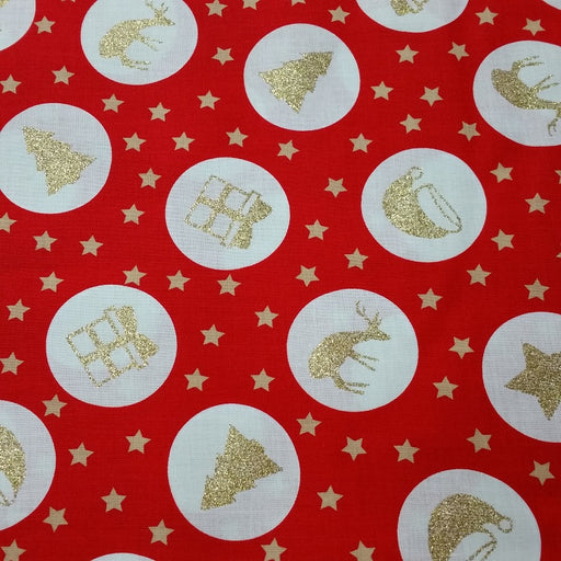 "100% Red & Gold Christmas Star Fabric x 135cm / 54"" - Red"