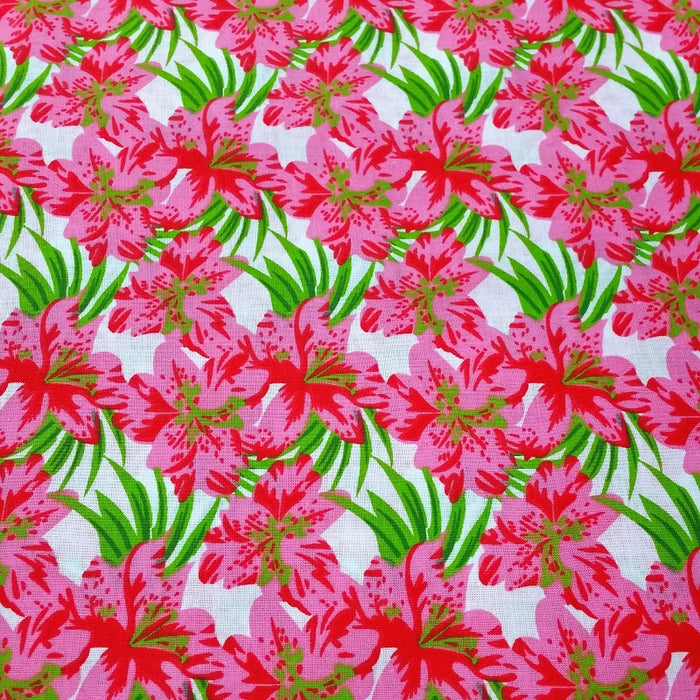100% Cotton Tropical Flower Print Fabric x 150cm / 60""