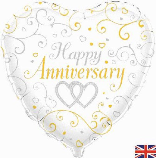 "18"" Foil Balloon - Happy Anniversary Heart Gold & Silver"