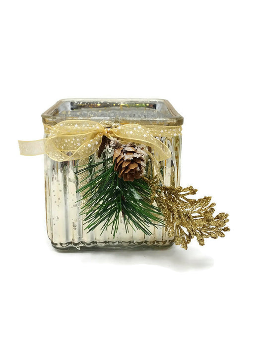 Gold Glass Cube with Snowy Pinecone & Gold Leaf Decoration - 10 x 10 x 10cm