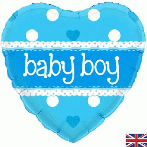 "18"" Foil Balloon - Baby Boy Heart"