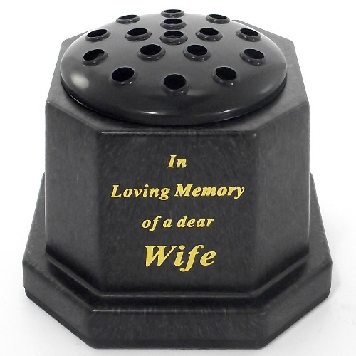 Black In Loving Memory Wife Memorial Pot