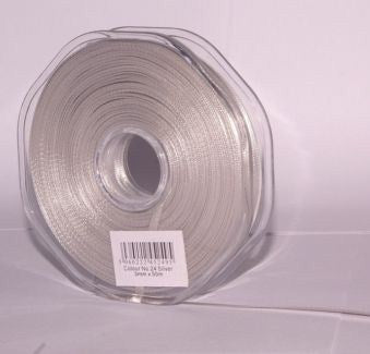 10mm x 20m Double Faced Silver Satin Ribbon