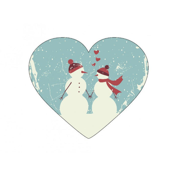 Christmas Snowman and Snowwoman Heart Card Hangers x 12 Gift Tgas