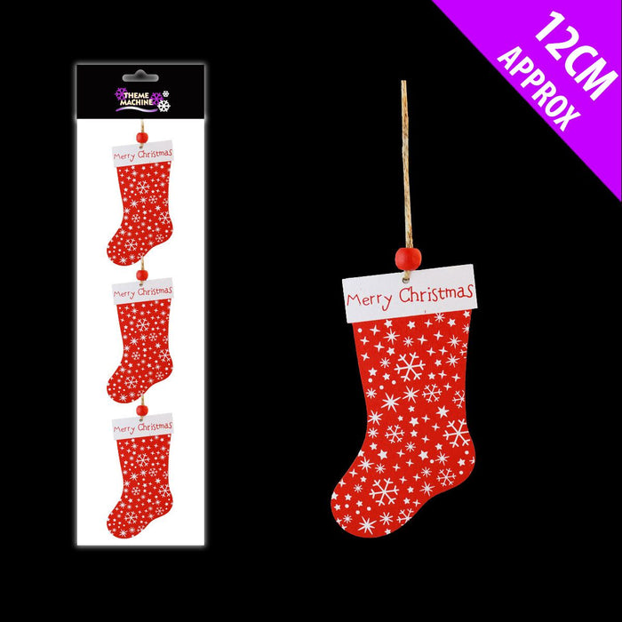Red Wooden Stocking Hanger x 3