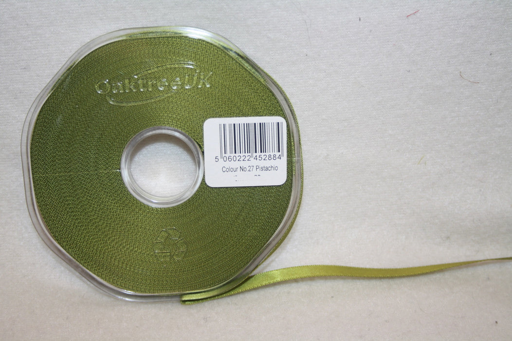 10mm x 20m Double Faced Pistachio Satin Ribbon